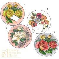 Вафельная пластина - Цветы, 14,5см. (25918/p)