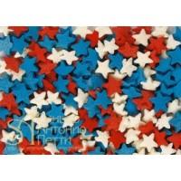 Посыпка кондитерская - Звезды красные, белые, синие, 0.75кг. (ipSH.2811)
