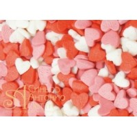 Посыпка кондитерская - Сердечки красные, белые, розовые, 0.75кг. (ipSH.2834)
