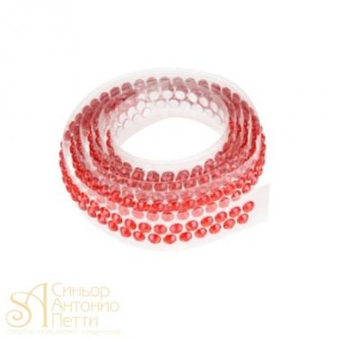Декоративная лента с украшением в виде кристаллов - Красная, 90см. (25027*D/p)