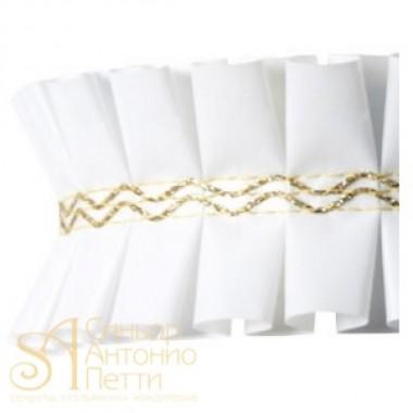Лента с золотым переплетением - Белая, 2м. (24192*G/2)