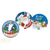 Вафельные пластины - Дед Мороз, 22см. 12шт. (14938)