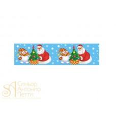 Бордюрная лента с рисунком - Дед Мороз и Снеговик, 40мм. 550м. 40мкр. (NSAH 50 Дед Мороз)