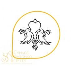 Трафарет - Голубки и сердце, 26см. (MASK 85)