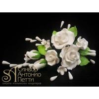"""Цветы из мастики - """"Букет роз"""", Белый (11186*Gi/p)"""