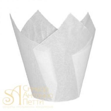 Бумажные формы для выпечки - Тюльпан, Белый, 50*h85мм. 200шт. (TULIP 160/50 G)