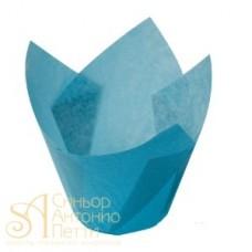 Бумажные формы для выпечки - Тюльпан, Голубой, 50мм. 200шт. (TULIP 150/50 C)