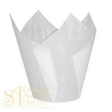 Бумажные формы для выпечки - Тюльпан, Белый, 50мм. 200шт. (TULIP 150/50 G)