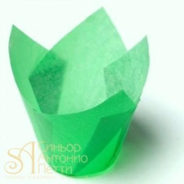 Бумажные формы для выпечки - Тюльпан, Зеленый, 50мм. 200шт. (TULIP 150/50 L)