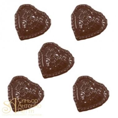 Форма для отливки шоколадных фигурок - Cердце с надписью Love (90-1006)