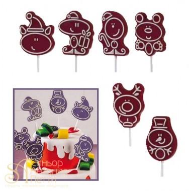 Набор форм для создания шоколадных конфет с рисунком - Зимние персонажи, 2шт. (20-C024)