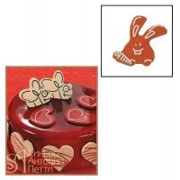 Набор форм для создания шоколадных конфет с рисунком - Кролик с морковкой, 2шт. (20-C001)