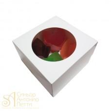 Упаковка c окном на 4 капкейка - Белая, 16,5*16,5*h11см. (SP CUPO4)