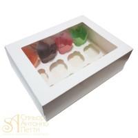 Упаковка c окном на 12 капкейков - Белая, 25*33*h11см. (SP CUPO12)