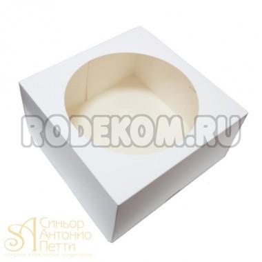 Упаковка для торта с окном  - Белая, 23*23*h12см. (SP 23*23*12)