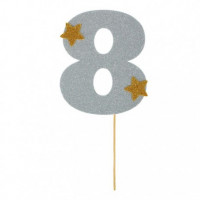 """Топпер-цифра """"8"""" серебро (1502917)"""